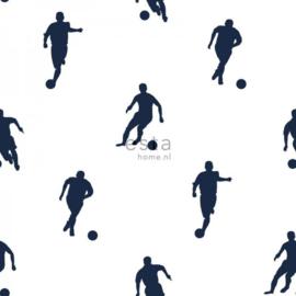 College Voetbal spelers behang wit donkerblauw 138801 VLIES