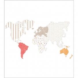 035. Wereld behang in oranje taupe rood