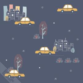 Taxibehang blauw met stad