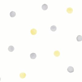 Watercolour Polka Dots 91002 Grijs Geel