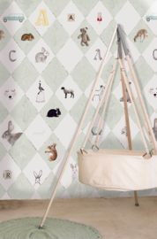 Little OZP 3764 Wieber behang met dieren mintgroen