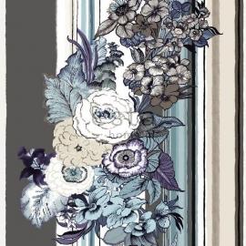 022. Streepbehang met bloemenmotief in bruin/teale/crème