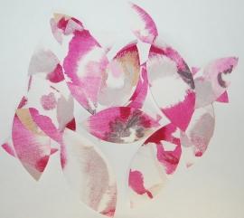 Behangblaadjes roze lila koper