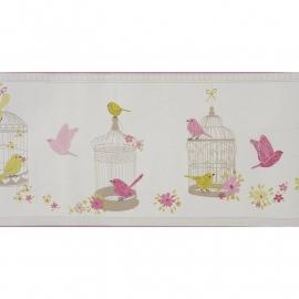 049. Caselio Rand met vogels/bloemen/vogelkooitjes in roze/limegroen/zilver