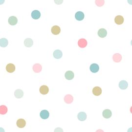 Esta Home Let's Play! behang stippen roze mintgroen turquoise okergeel 139041