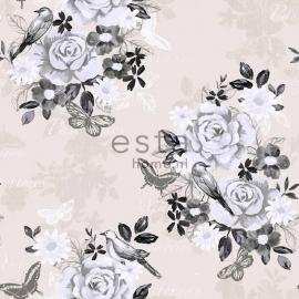 007.  Bloemenbehang creme met zwart/wit/grijze bloemen