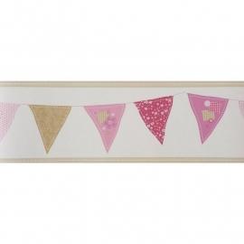 014.Caselio Vlaggetjesrand in  roze/beige