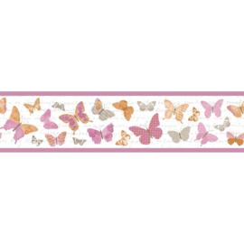 Vlinder rand roze oranje beige grijs 4030