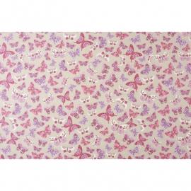038. Caselio Vlinderstof in paars/roze/grijs