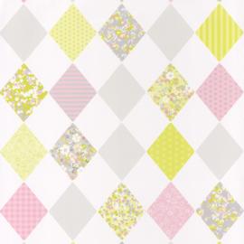 Wiebertjesbehang roze grijs groen 7070