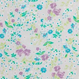 Caselio Bloemetjesstof in paars/groen/turquoise