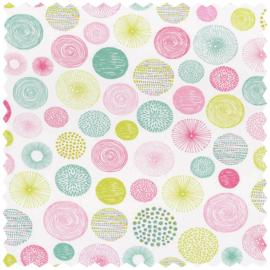 Stippen STOF roze mint groen 5649