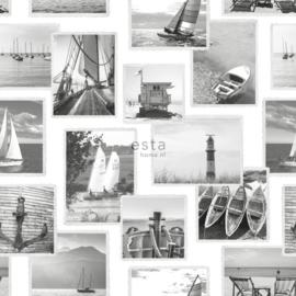 Zeilbootjes behang  grijs 138956