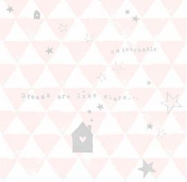 Onszelf Driehoekjes met tekst behang wit roze grijs OZ 3089