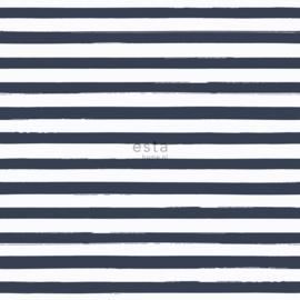 Blauw wit streepjes behang  138970
