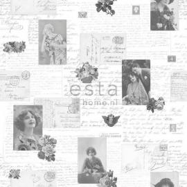 033. Esta Home Franse kaarten/brieven behang grijs/zwart/wit
