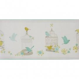 054. Caselio Rand met vogels bloemen vogelkooitjes in turquoise/limegroen/zilver