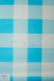 04. Behang per meter Turquoise/wit