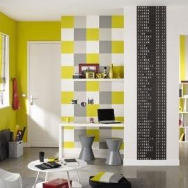 Life Blokkenbehang in geel wit grijs