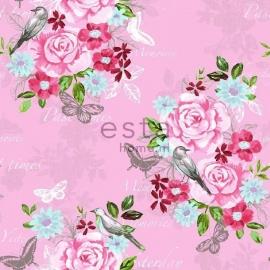 002. Esta Home Bloemenbehang roze met roze/blauw/groen bloemen