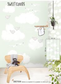 Wolkenbehang posterbehang met vogeltjes Mint INK 7008