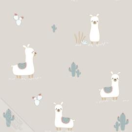 Lama behang met cactus grijs