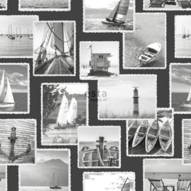 Zeilbootjes behang zwart 138957