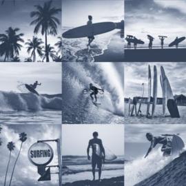Blauw behang met surfers 138954
