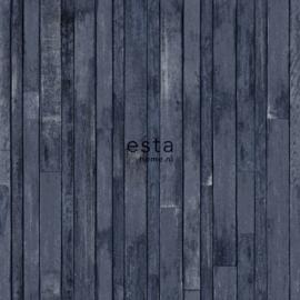 Houten planken behang blauw 138814