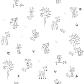 Puck & Rose behang Dieren 27125 Grijs wit zwart