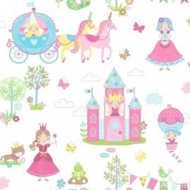 Prinsessen behang roze blauw  143