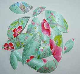 Behangblaadjes PIP groen roze
