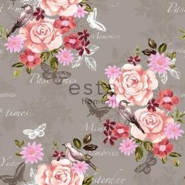 003. Esta Home Bloemenbehang grijs met roze/koraalrood/bruine bloemen