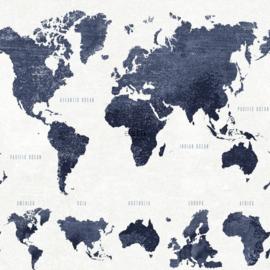 Wereldkaart behang blauw 138972