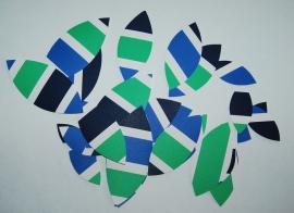 Behangblaadjes streepjes groen blauw wit