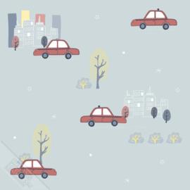 Taxibehang lichtblauw met stad