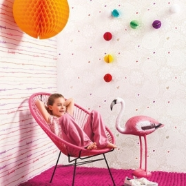 Caselio FantasieBloemen behang en streepjes behang met woorden