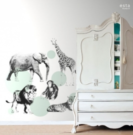 Esta Home Everybody Bonjour behang Dieren Mint 158704