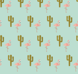 Flamingo behang met Cactus Renee blauw