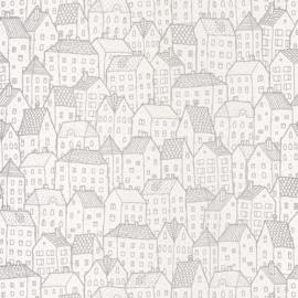 Huisjesbehang in creme wit zilver 9099