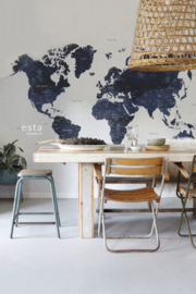 Esta Home Regatta Crew surf edition PhotowallXL Worldmap blue 158853
