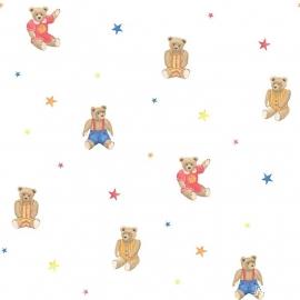 Teddy beren behang rood met ster 158