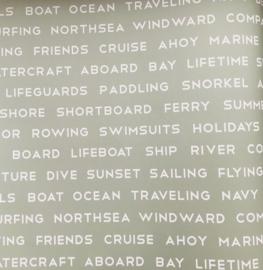 Groen behang met nautische woorden 138959
