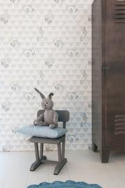 Onszelf Driehoekjesbehang met konijntjes blauw wit OZ 3271