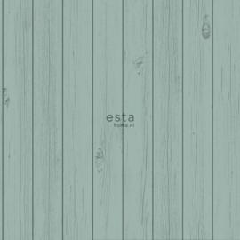 Esta Greenhouse  krijtverf smalle houten vintage sloophout planken vergrijsd zee groen 128852