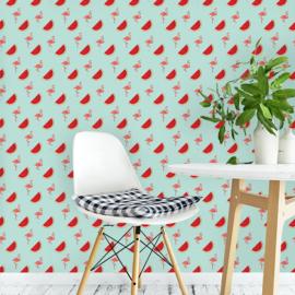 Flamingo behang met Watermeloen Renee blauw