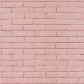 Baksteen behang  roze 4012
