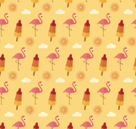 Flamingo behang Summer Renee oranje