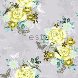 005. Bloemenbehang grijs met geel/teale/oudgroene bloemen
