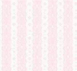Dentelle stripe pink behang 2200304